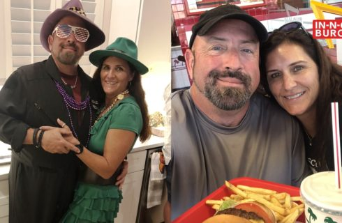 Collage of brunette couple in dress-up and eating fast food.