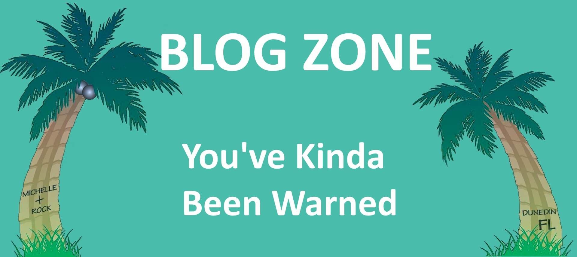 Aqua background with two palm trees and test: Blog Zone You've Kinda Been Warned