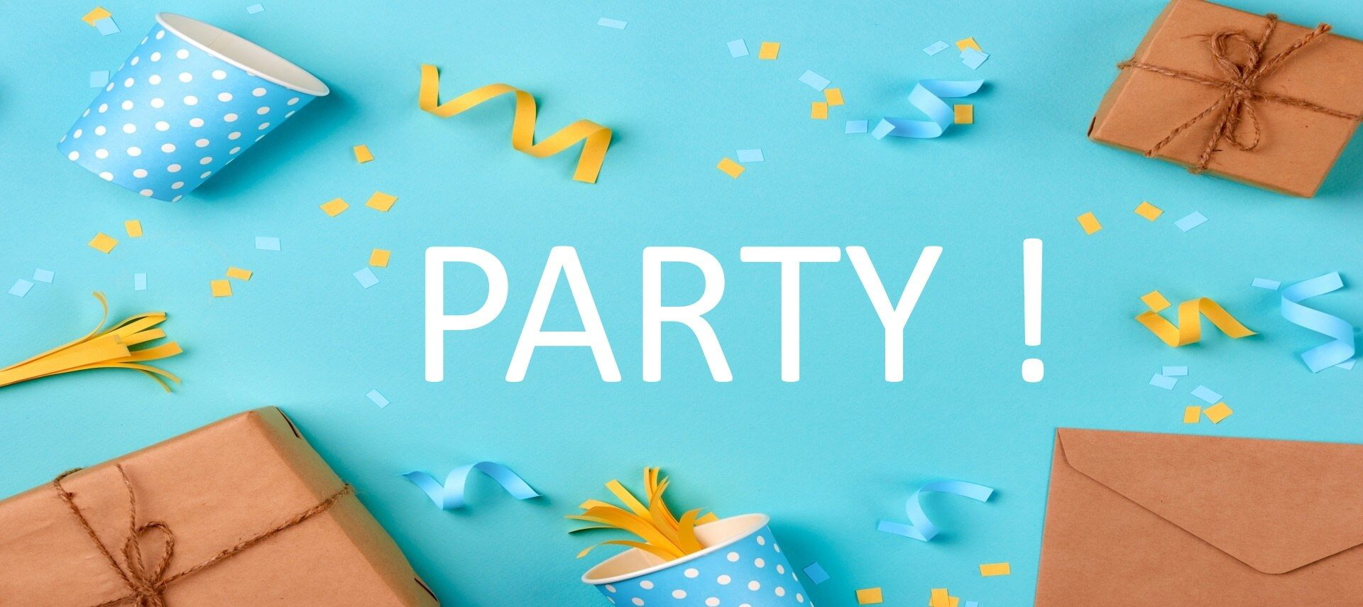 Gifts tied up in brown papaer, cups and noisemakers with confetti on a blue background with the word PARTY in white