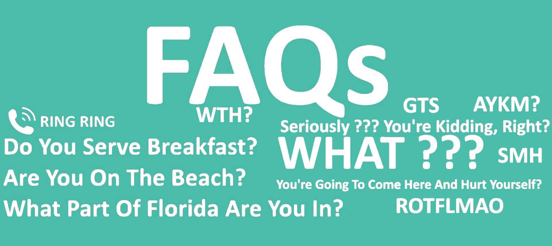 Teal background with white lettering about the FAQ page