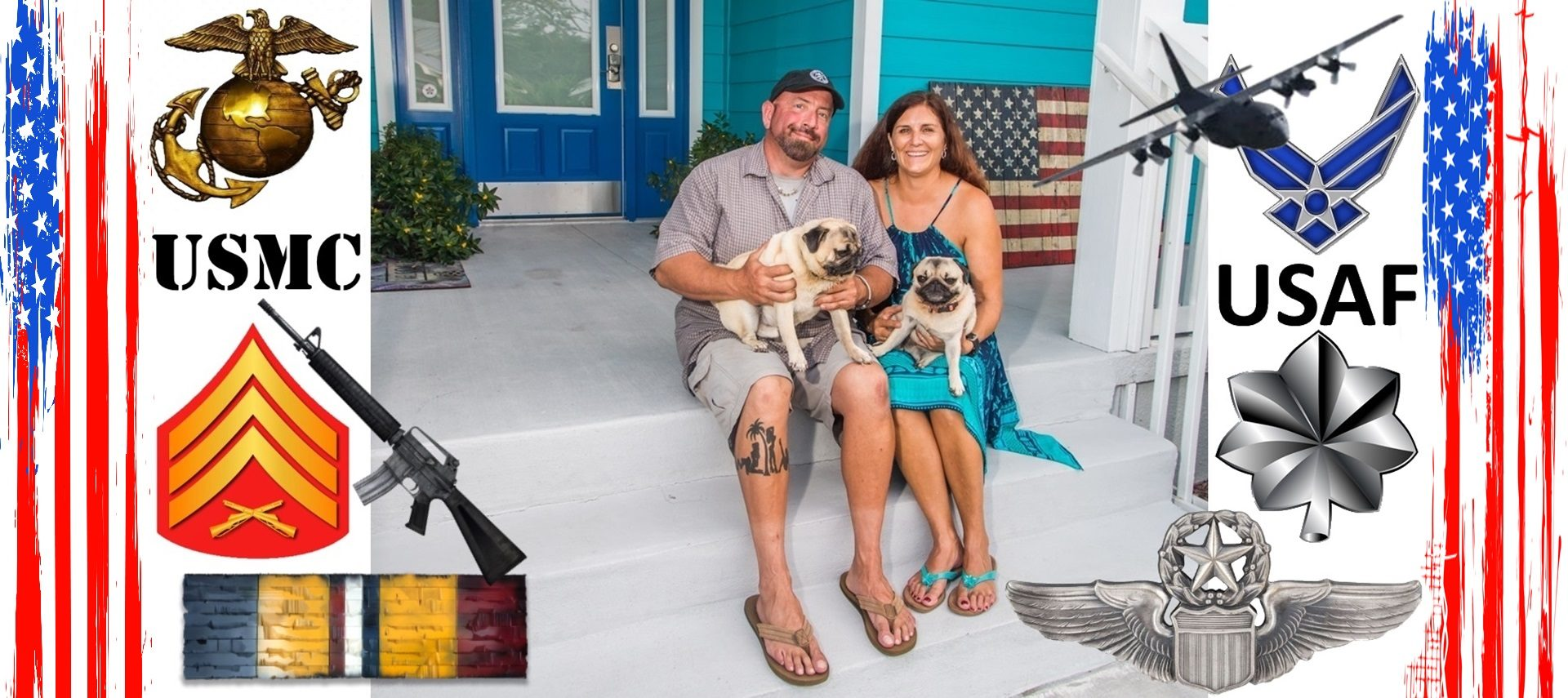 Couple on steps of house holding pug dogs, surrounded by USMC and USAF logos and insignias.