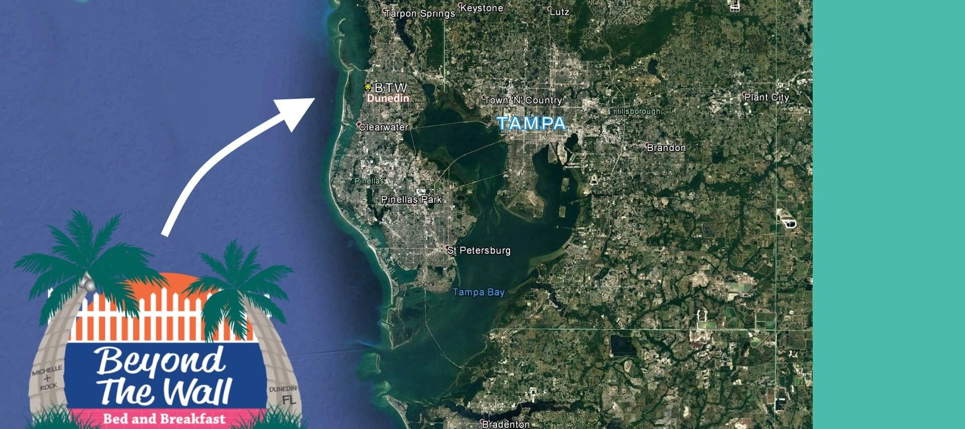 Landscape view of DunedIn, FL, with a logo pointing to location of Beyond the Wall Bed & Breakfast