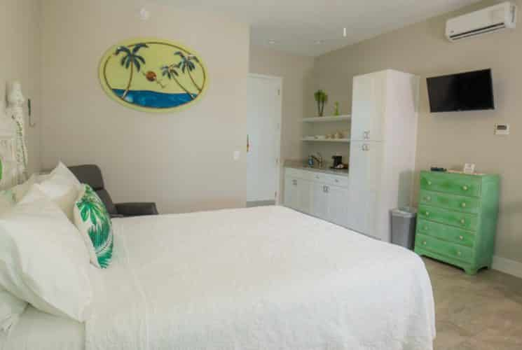 Large bedroom with palm tree decor - bed made up in white and kitchen area.
