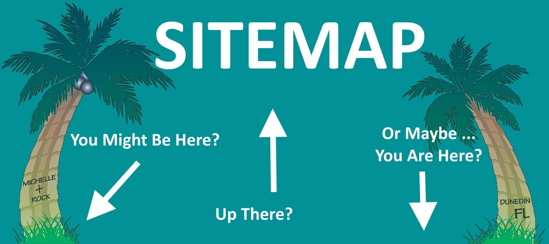 Teal background with palm trees - text : SITEMAP with arrows.