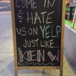 Funny sign about a bad Yelp review
