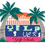 BTW logo with the words Yelp Sucks in different fonts.