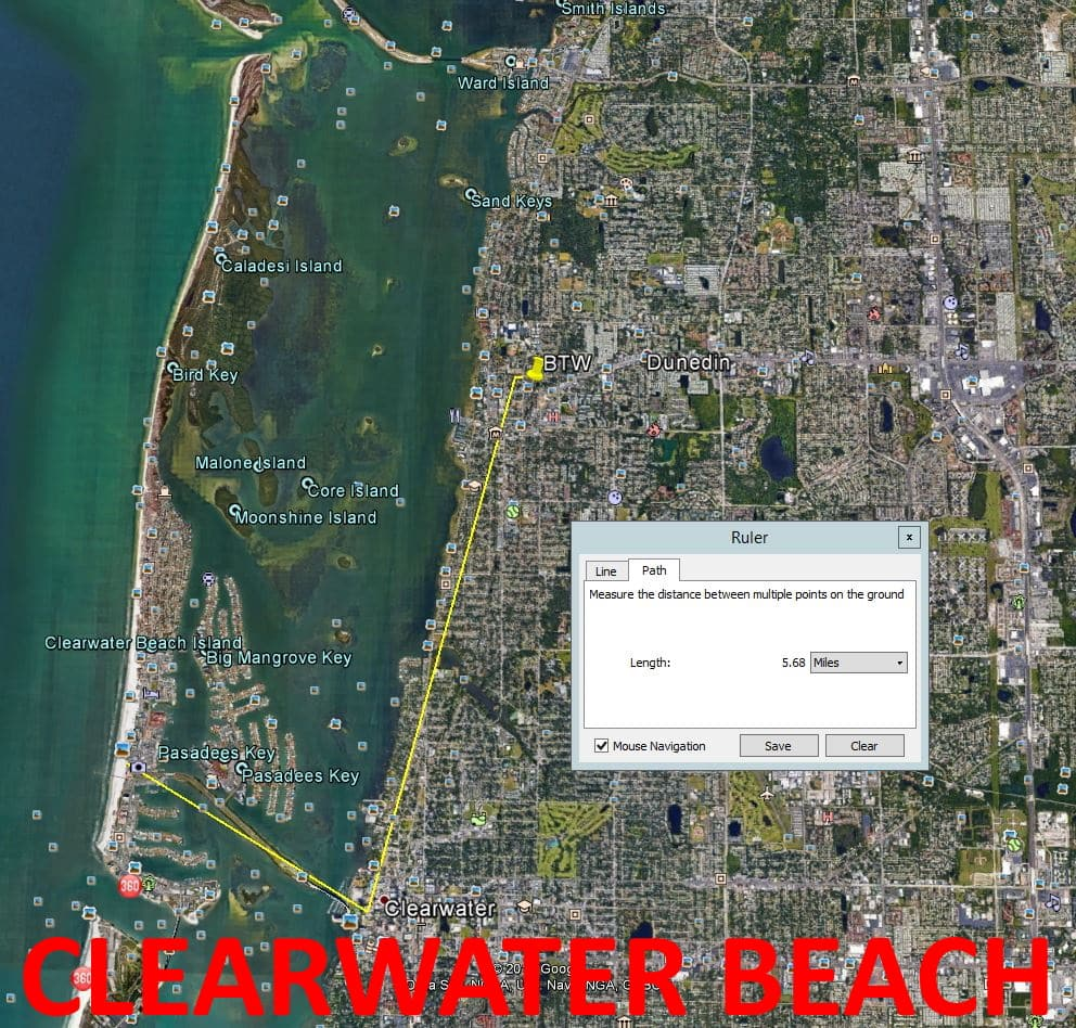Map showing distance from Beyond the Wall Bed and Breakfast to Clearwater Beach