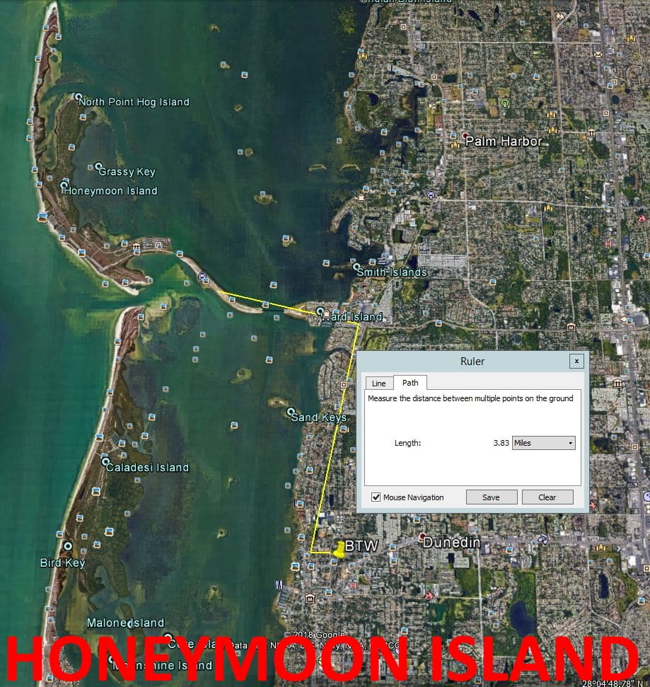 Map showing distance from Beyond the Wall Bed and Breakfast to Honeymoon Island