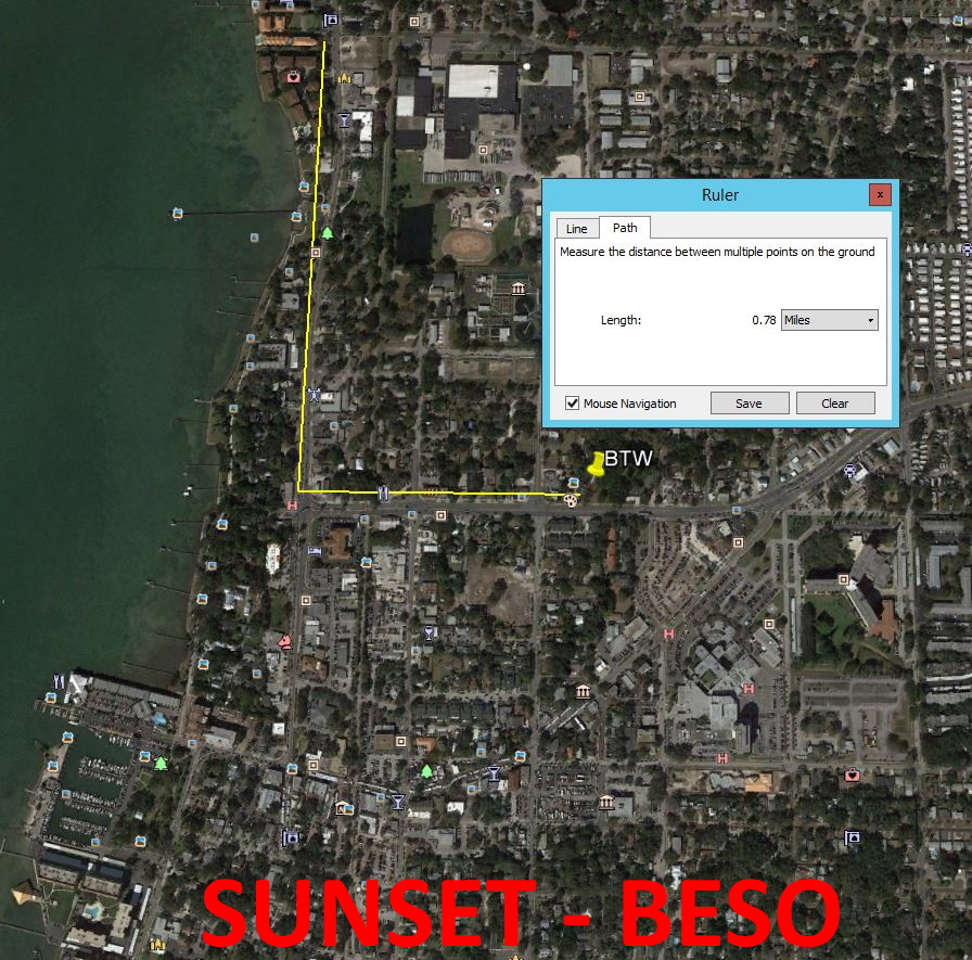 Map showing distance from Beyond the Wall Bed and Breakfast to Beso del Sol