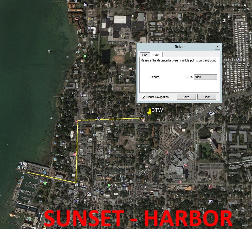 Map showing distance from Beyond the Wall Bed and Breakfast to Dunedin Harbor