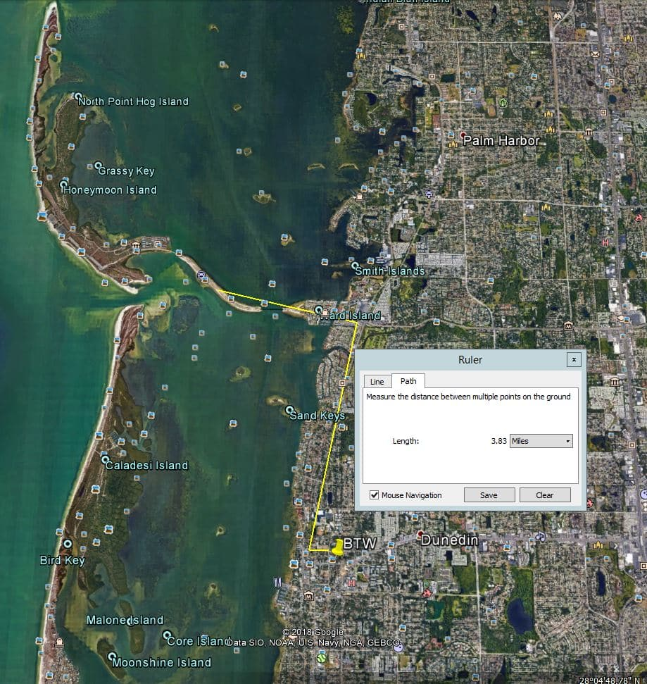 Map showing distance from Beyond the Wall Bed and Breakfast to Sunset at Honeymoon Island