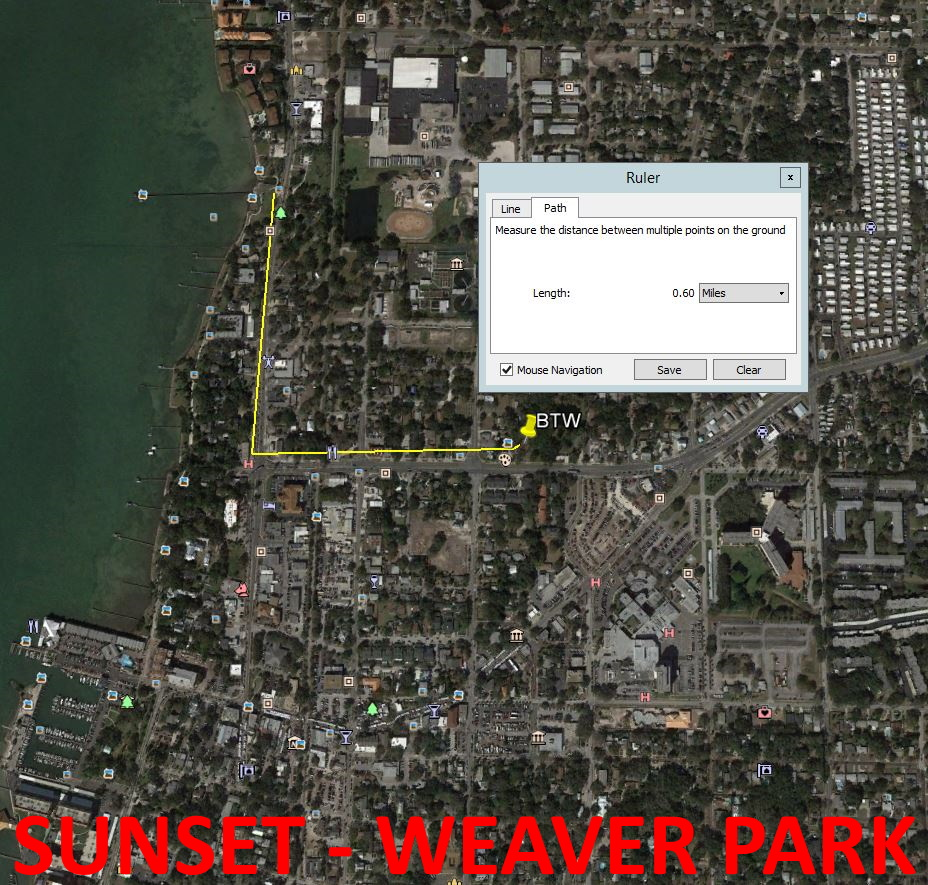 Map showing distance from Beyond the Wall Bed and Breakfast to Sunset at Weaver Park