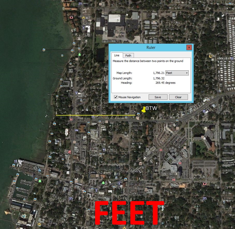 Map showing distance from Beyond the Wall Bed and Breakfast to Water/ Ocean/ Gulf in feet